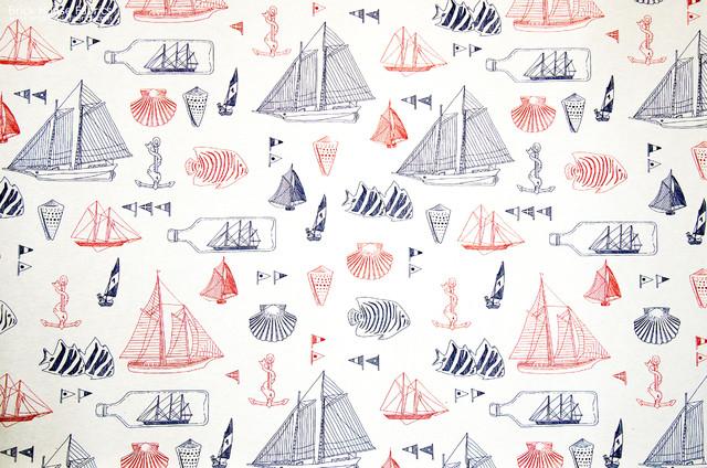 Nautical fabric ship in bottle anchor sail boat beach