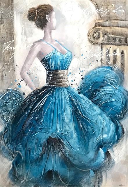 """LetsDance"" Acrylic Painting, Blue, 80x115 cm"