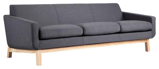 Platform Midcentury Modern Classic Sofa, Urban Ink Seat, Ash Base