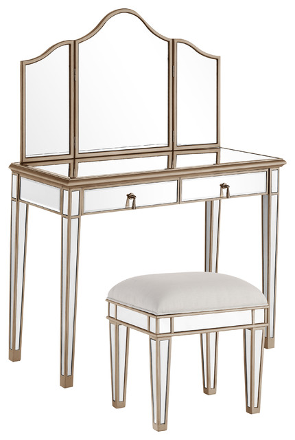 Contemporary 3-Piece Contempo Vanity Table With Dressing Mirror And Chair Set.