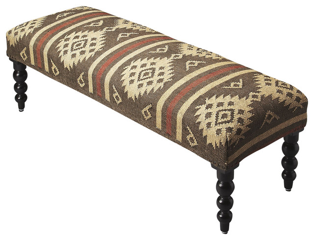 Fallon Upholstered Bench - Black. -1