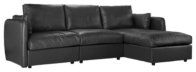 Modern L Shape Leather Sectional 3 Seater Sofa With Chaise Lounge Black