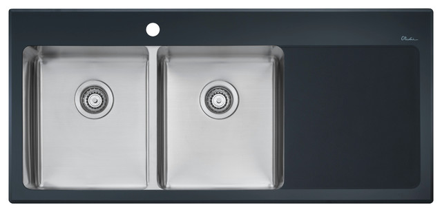 double bowl sink mounted tempered black glass rim with drainer on right side contemporary kitchen - Oliveri Undermount Kitchen Sinks