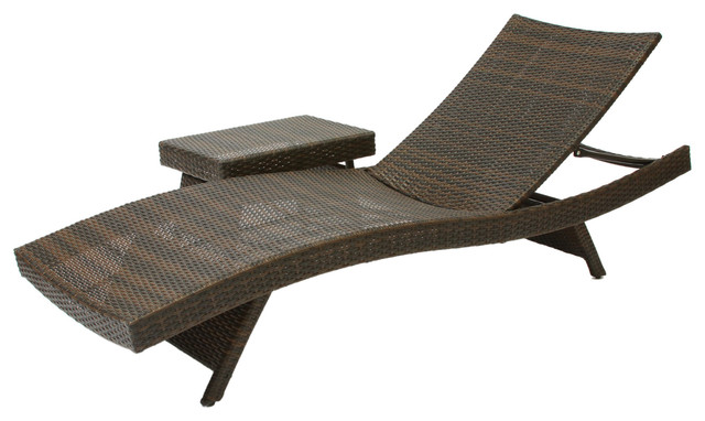 Lakeport 2pc Outdoor Adjustable Chaise Lounge Chair & Table Set.