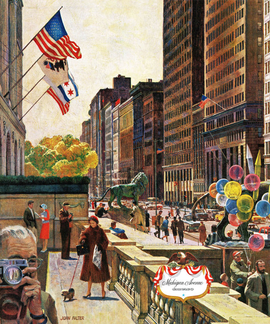 Michigan Avenue Chicago Painting Print On Canvas By John Falter Midcentury Prints And Posters By Marmont Hill