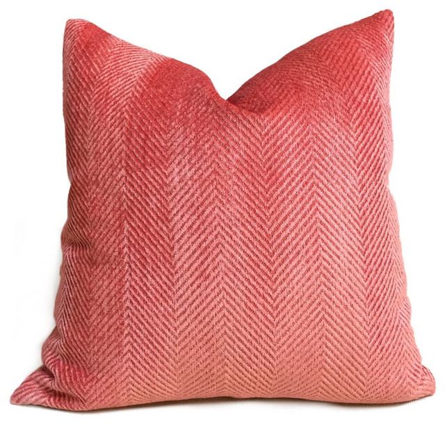 Herringbone Coral Pink Chenille Pillow Cover - Decorative Pillows - by Aloriam