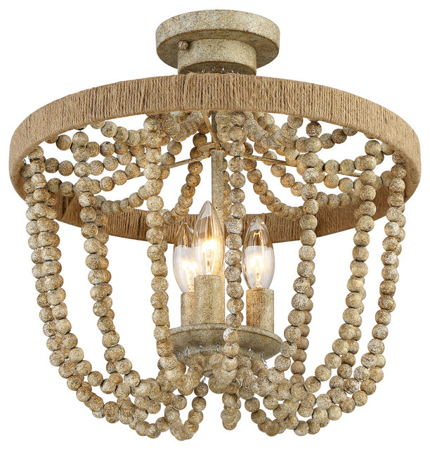 Transitional 3 Light Semi Flush Mount In Natural Wood With Rope
