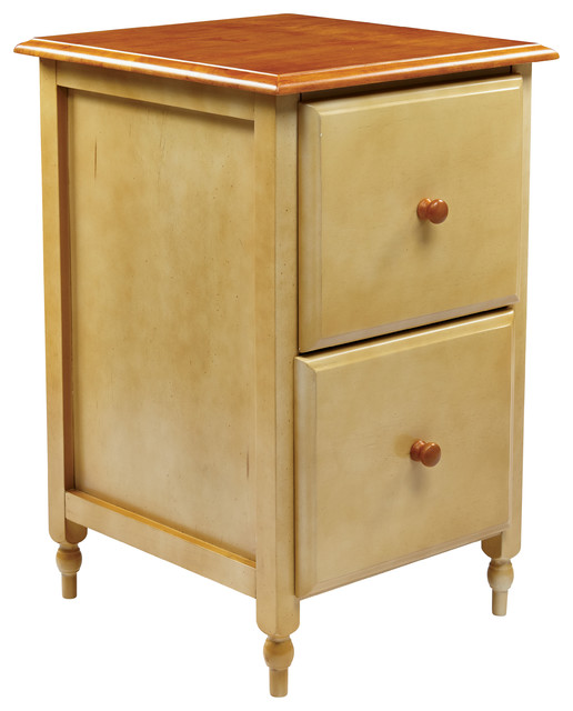File Cabinet In Country Cottage Buttermilk & Cherry Finish.