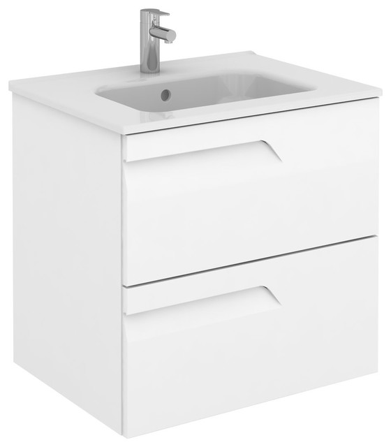 Vitale 24 Inches Wall Mounted Modern Bathroom Vanity 2 Drawer White With Basin Contemporary Bathroom Vanities And Sink Consoles By Bath4life Houzz
