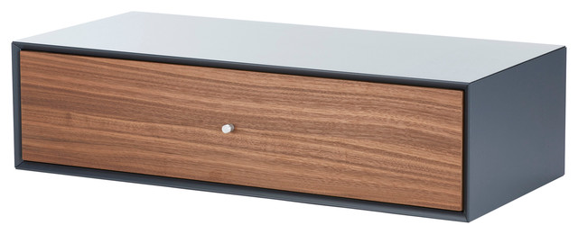 Large Single Drawer Storage Box Grey And Walnut Contemporary Bo