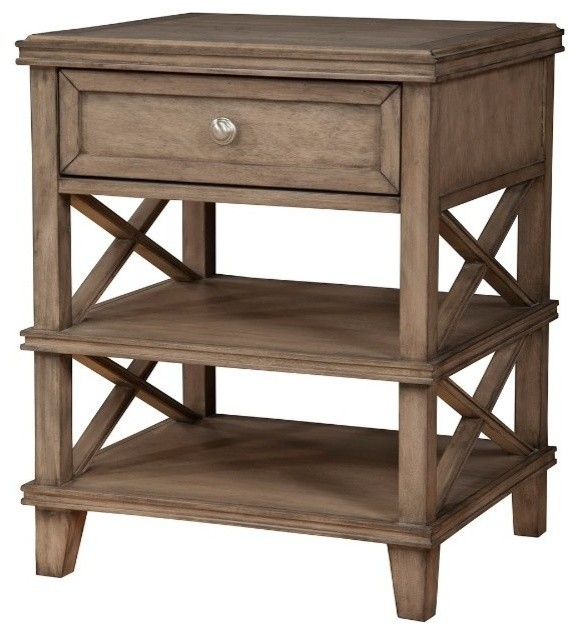 Mahogany Wood Nightstand With 1-Drawer, French Truffle Brown.