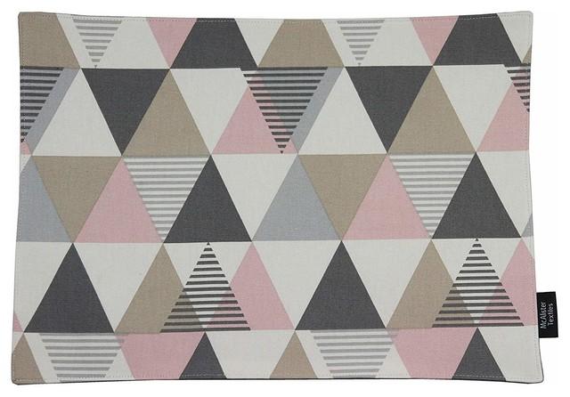 McAlister Textiles Vita Place Mats Triangle Print, Terracotta Orange, Set of 2
