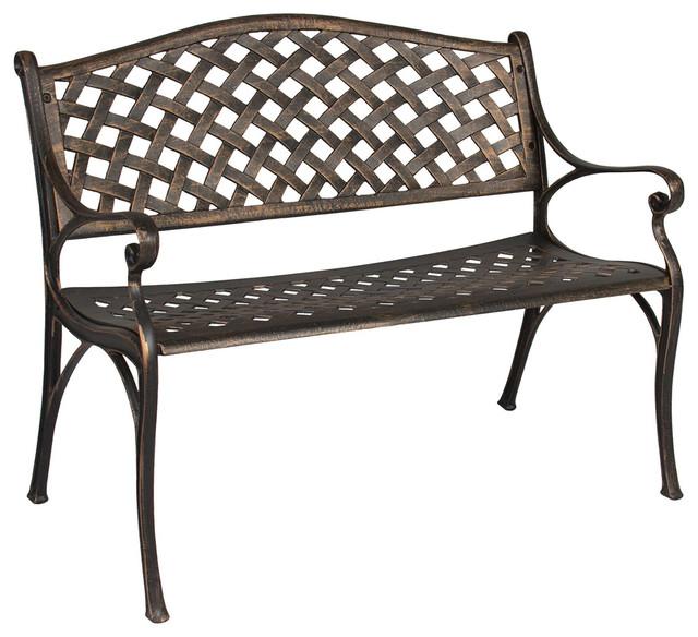 Astounding Outdoor Patio Furniture Cast Aluminum Garden Bench In Antique Copper Bronze Bralicious Painted Fabric Chair Ideas Braliciousco