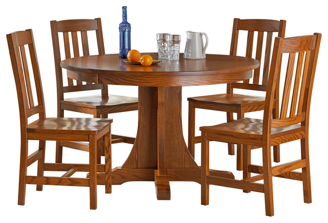 Old mission 5 piece dining set round oak table with 4 for Kitchen set for 4 year olds