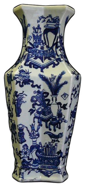 chinese blue white porcelain rhomboid flower vase vase asianvases