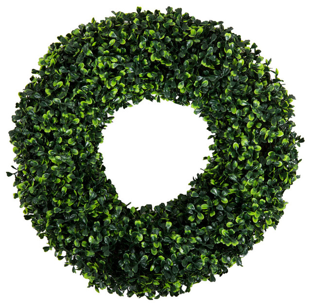 Pure Garden Boxwood Wreath - 14 Inch Round.