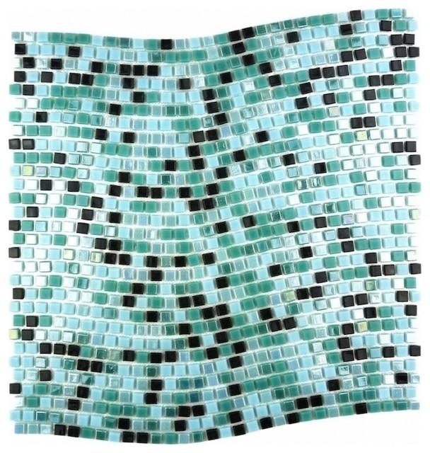 Blue Green Wavy Glass Mosaic Tile, Sample