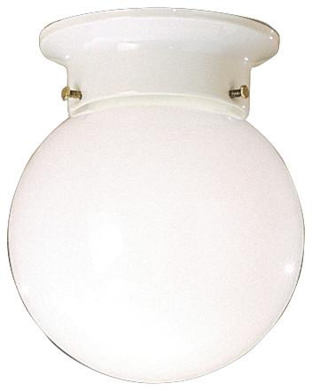Flush Mount 1-Light White Ceiling Space.