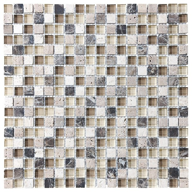 Bliss Cuccino Stone And Gl Square Mosaic Tile Sample