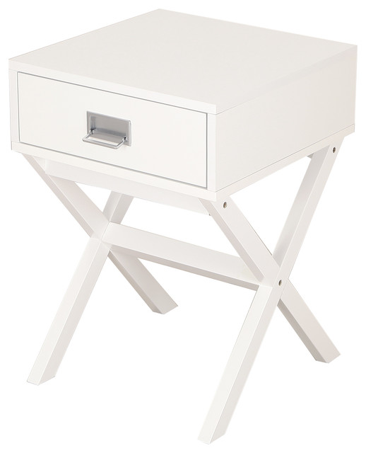 Paloma Mosaic Coffee Table: Modern End Table Nightstand With Drawer And Cross Leg