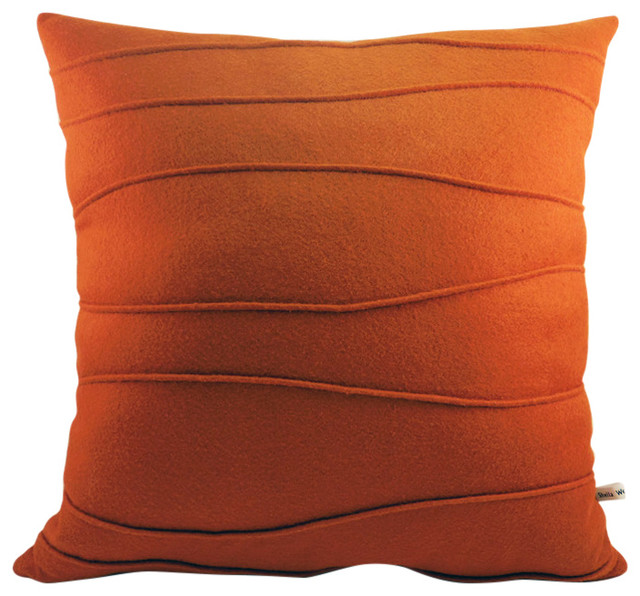Wool Felt Throw Pillow With Organic, Modern Ribbing, Harvest Orange.