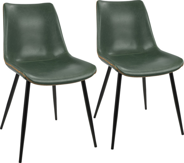 LumiSource Durango Dining Chair, Black Frame and Green PU Leather, Set of 2
