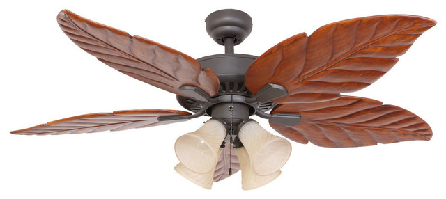 Tropical Ceiling Fans : Quot punta cana bronze indoor light ceiling fan with