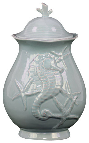Elegant And Stunning Ceramic Canister With Seashell Design Decor, Blue,  Large Beach Style