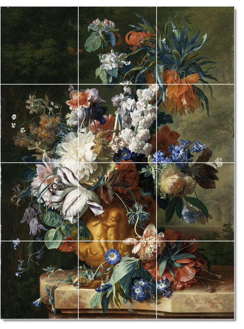 Picture tiles llc jan van huysum flowers painting for Ceramic mural painting