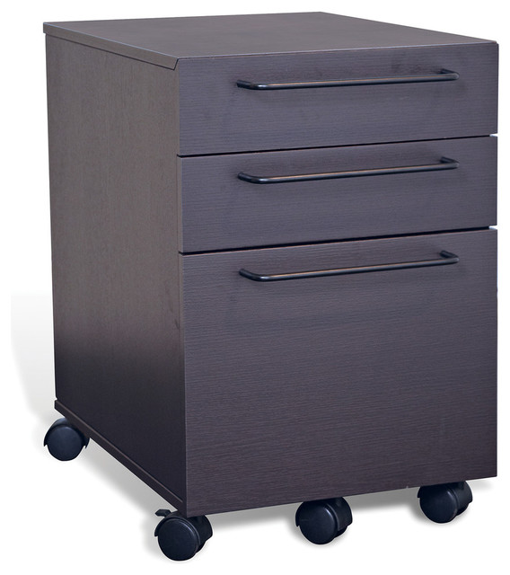 3 Drawer Mobile Pedestal File Cabinet, Espresso - Modern - Filing Cabinets - by Unique Furniture