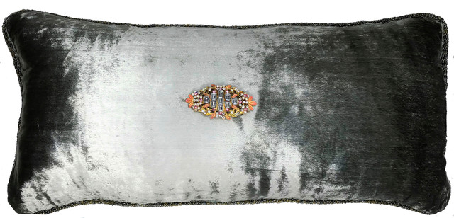 Gray Velvet Pillow With Vintage Pink Jewel Pin