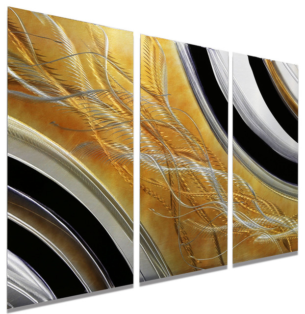 Abstract Black Silver And Gold Modern Metal Wall Painting