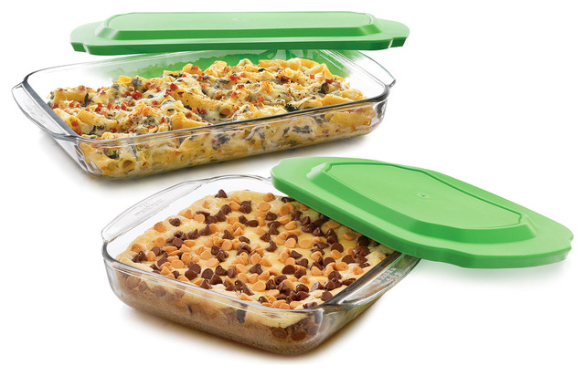 Baker&x27;s Basics 2-Piece Glass Bake Dish Set With 2 Plastic Lids Value Pack.