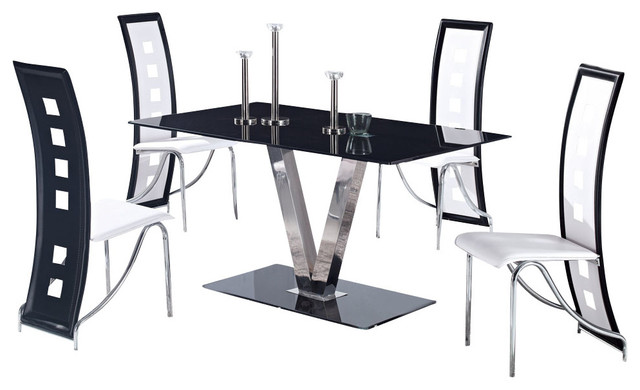 Global Furniture Usa 551dt 5 Piece Glass Dining Room Set With White