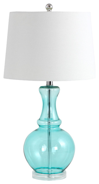 Sabine Glass Table Lamp, Teal Beach Style Table Lamps
