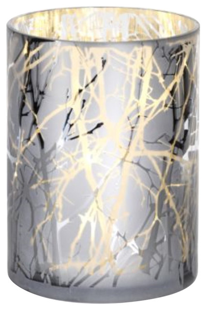 Tea Light Hurricane Candle Holder White Etched Leaf Pattern Gift Pillar Candle