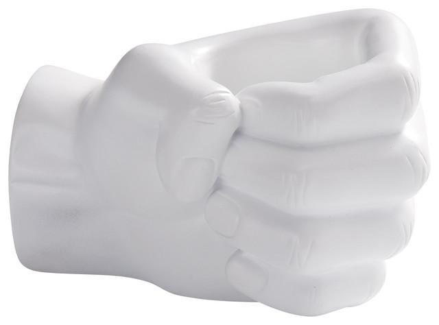 Danya B Fist Pen Holder, White.