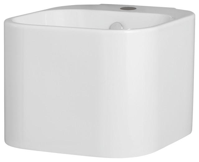 Tandem Ceramic Wall-Mounted Washbasin, Glossy White.