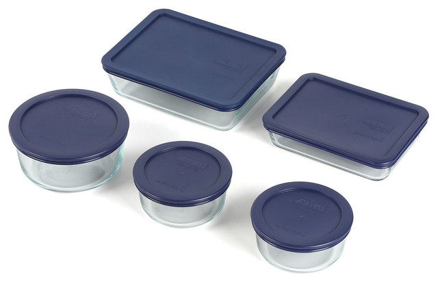 10-Piece Glass Bakeware Set With Blue Lids, Oven Microwave Dishwasher.