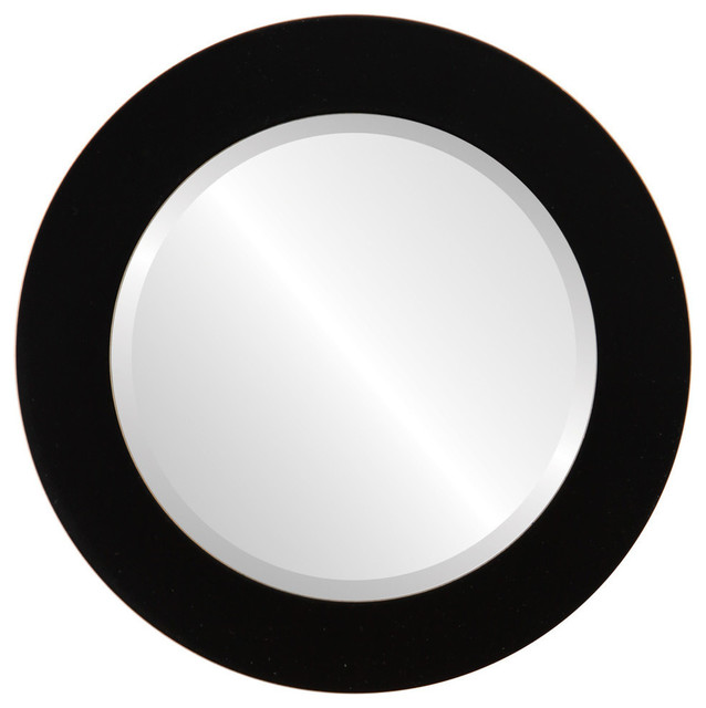 Soho Framed Round Mirror In Rubbed Black, 33x33.
