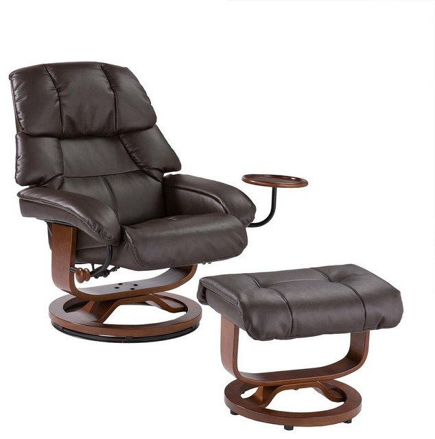 Marcus Bonded Leather Recliner And Ottoman Contemporary
