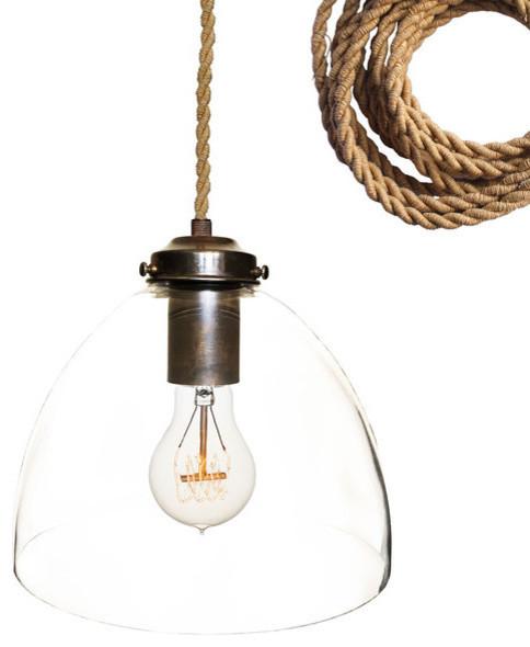Hand blown 8 glass pendant light oil rubbed bronze ship rope cord 8 clear glass pendant light oil rubbed bronze ship rope cord aloadofball Images