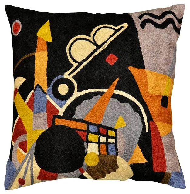 "Kandinsky Grand Torre Kiev Black Pillow Cover Hand Embroidered 18"" X 18""."