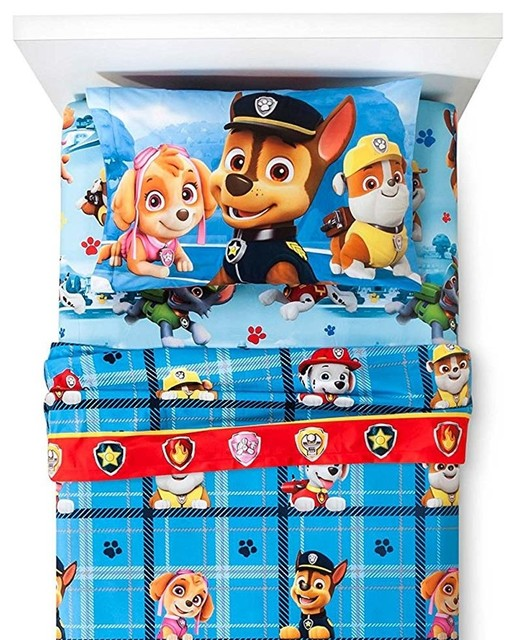 Paw Patrol Twin Flannel Sheets Pups On The Loose Bedding