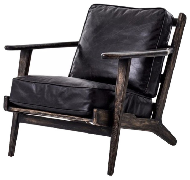 Four Hands Brooks Lounge Chair, Ebony Rustic Armchairs And Accent Chairs