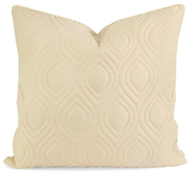 Imax Ik Kavita Beige Linen Quilted Pillow With Down Fill X