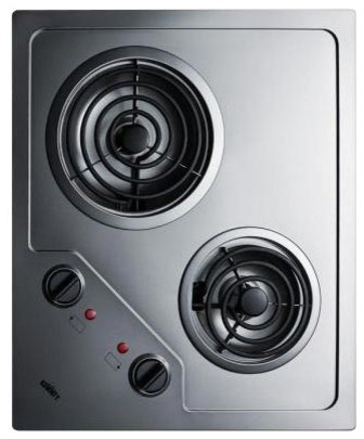Summit Cr2b224s 2-Burner 230v Electric Cooktop With Coil Elements, Ss.