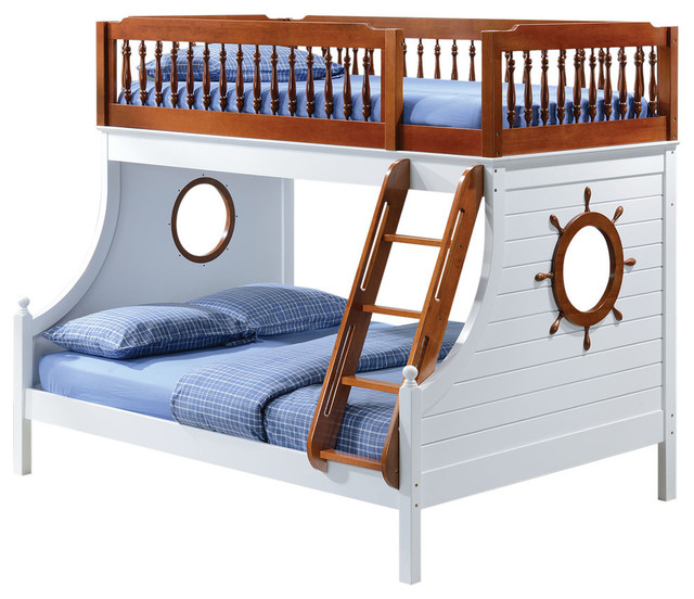 farah twin over full bunk bed oak and white finish