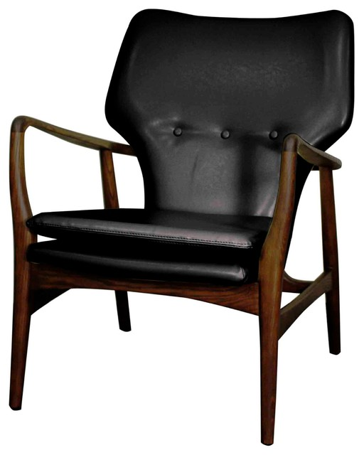 Colin Bonded Leather Arm Chair With Dark Walnut Legs Black