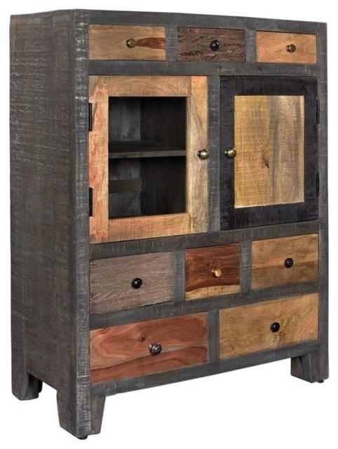 Woodland Eight Drawer 2 Door Cabinet, Rustic Storage Cabinets